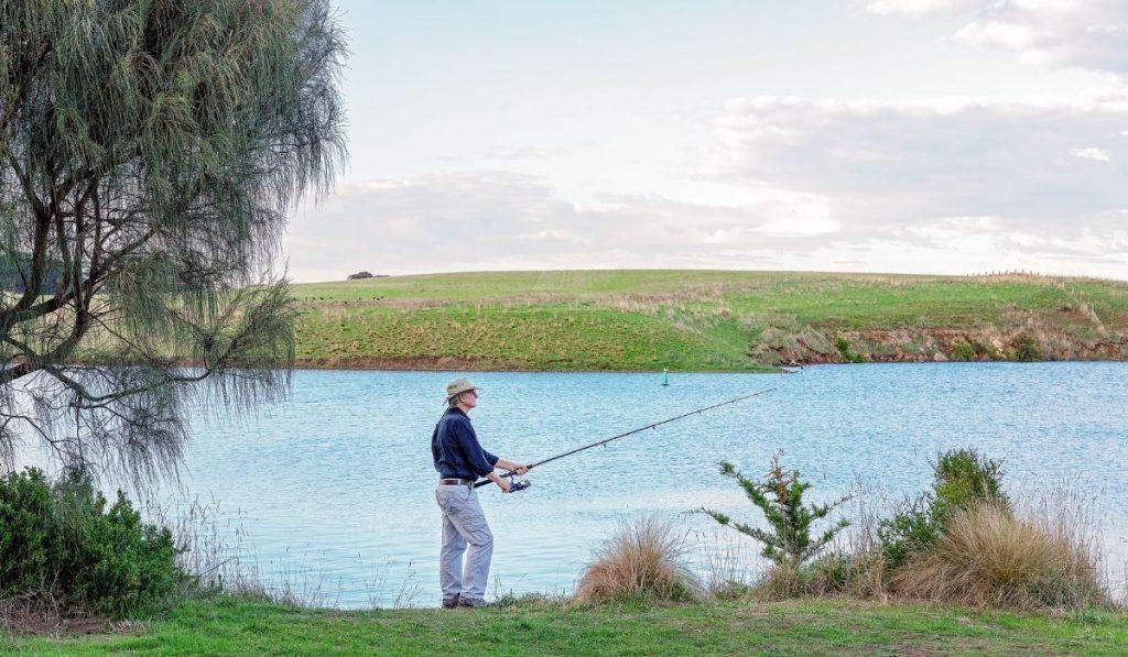 a retiree enjoying his time fishing